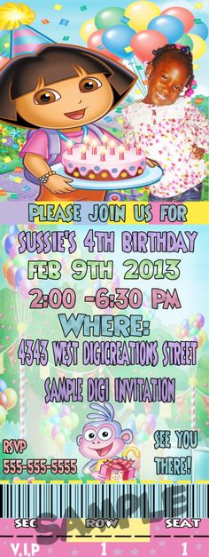 Sample of a custom DIGITAL Dora The explorer invitation   Each invitation can be customized to your liking email:digicreations13@yahoo.com