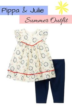 Pippa & Julie Floral Print Dress & Leggings Set. baby girl | summer outfit | clothes | fashion | floral | spring | leggings | tunic | style | afflink