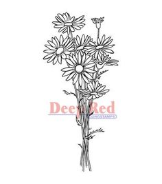 Deep Red Cling Stamp Daisy Bouquet