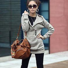 Women's Thick Fashion Slim V Neck Hoodie
