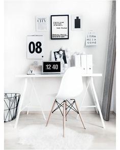 Decoração Preto E Branco Desk Worke Home Office Design House