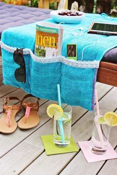Towel utensil for your lounger - Upcycled Crafts Tie Dye Steps, How To Tie Dye, Fun Crafts, Diy And Crafts, Tie Dye Kit, Old Towels, Upcycled Crafts, Household Items, Pin Collection