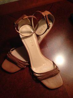Lauren Ralph Lauren Camel Leather Strappy Sandal Heels Womens 8.5 M