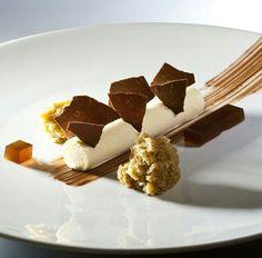 Deconstructed Tiramisu with mascarpone mousse, espresso gelee, chocolate crocante, and espresso marsala soaked sponge - Food Plating