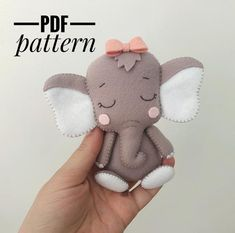 elephant pattern felt sewing elephant ornament PDF pattern A Felt Animal Patterns, Felt Crafts Patterns, Stuffed Animal Patterns, Pdf Sewing Patterns, Doll Patterns, Stuffed Animals, Needle Felting Supplies, Needle Felting Tutorials, How To Make Ornaments
