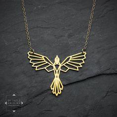 Bird necklace, phoenix necklace, geometric phoenix bird pendant, bird... (62 AUD) ❤ liked on Polyvore featuring jewelry, necklaces, geometric pendant necklace, geometric pendant, origami jewelry, origami pendant and pendant necklaces