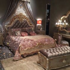 Diamond bedroom Mini Art Print by Yana Potter artist - Without Stand - x Glam Bedroom, Room Ideas Bedroom, Bedroom Decor, Glitter Bedroom, Rich Girl Bedroom, Royal Bedroom, Bedroom Designs, Bed Room, Girls Bedroom