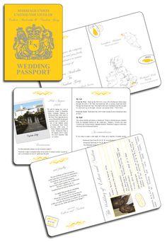 British Passport Invitation in yellow and grey by www.DestinationStationery.com