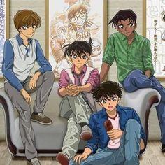 Hakuba, Shinichi, Kaito and Heiji Magic Kaito, Dc Anime, Anime Guys, Manga Anime, Ran And Shinichi, Kudo Shinichi, Detective Conan Shinichi, Gosho Aoyama, Detective Conan Wallpapers