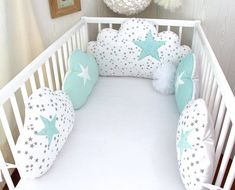 Delivery delay for making the item see delivery. Please contact me for more information Hand made cot bumpers, 5 lovely cloud cushions big cushion for the top bed, 60 or wide (to choose in option) ,in white with little grey stars cotton fabric s Cloud Cushion, Cloud Pillow, Baby Cot Bumper, Baby Cribs, Small Cushions, Baby Must Haves, Baby Pillows, Baby Sewing, Kids And Parenting