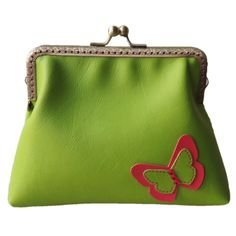 Lime & Hot Pink Faux Leather Butterfly Antique Bronze Sew in Clasp Purse Clutch Evening Bag