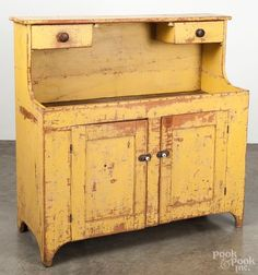 Pennsylvania painted pine drysink, c., the upper shelf with two under-hanging drawers, retaining an old yellow surface, Primitive Furniture, Country Furniture, Antique Furniture, Furniture Decor, Modern Furniture, Furniture Design, Primitive Bedroom, Outdoor Furniture, Primitive Homes