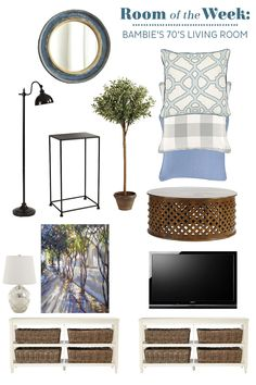 Decorating a 70's ranch living room with wood accents and a blue color palette