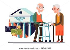 Cool vector pension fund concept illustration with elderly couple standing. Senior age man and woman standing with financial institution icon on background   Retirement financial concept illustration