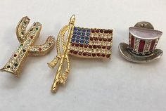 Vintage Brooch Lot Patriotic Flag Hat Cactus Rhinestone Enamel Pin Jewelry
