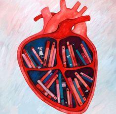 Biblio Corazón / Heart Library (illustration by Georgiana Chitac, georgianaillu… Quotes For Book Lovers, Book Quotes, I Love Books, Books To Read, Book Wallpaper, Reading Art, Book Nooks, Heart Art, Book Photography