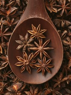 star anise --- love this added to a cup of black tea, along with a cinnamon stick, allspice and cardamon pods.