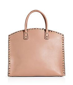 VALENTINO Soft Noisette Leather Rockstud Tote