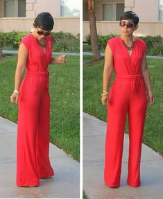 ***Mimi G. Red jumpsuit. She looks so cute in all her DIYs.