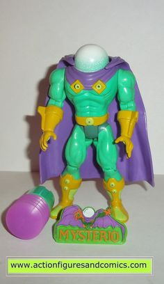 Toy Biz SPIDER-MAN the animated series action figures 1995 MYSTERIO 100% COMPLETE (Even includes the bonus pin) Condition: Excellent. collector quality Figure size: approx. 5 inch --------------------