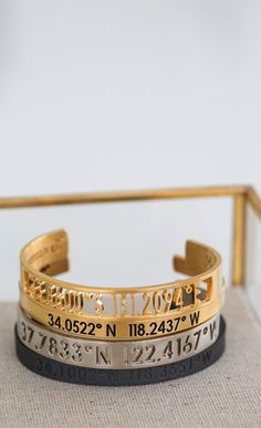 bangles with the personalized touch of the coordinates.