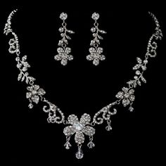 Rhodium Clear Swarovski Crystal Bead, Rondelle & Rhinestone Flower Jewelry Set 3371