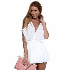 Women%27s%20Fashion%20V-Neck%20Off-the-Shoulder%20Romper%20in%20White%2C%2074%25%20discount%20%40%20PatPat%20Mom%20Baby%20Shopping%20App