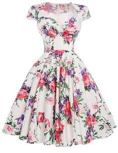 Audrey Hepburn Robe Retro Rockabilly Dress 2016 jurken Swing Floral Print Pin  up Vestidos Women Summer Vintage Dresses -- Click image for more details. 959f6798804b
