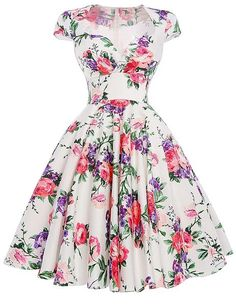 50s 60s Vintage Dress Rockabilly Floral Print Big Swing Pin Up Casual Party…