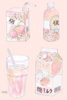 Pink kawaii illustrations of food juice box milk Cute Food Drawings, Cute Kawaii Drawings, Kawaii Art, Peach Aesthetic, Aesthetic Art, Aesthetic Anime, Aesthetic Drawings, Japanese Aesthetic, Aesthetic Painting