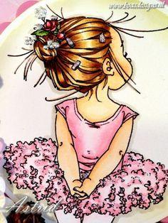 Mo Manning digi called Lil Ballerina, Coloured with copic Markers: Hair: E25, E31, E50 Skin: E11, E00, E000, E95 Dress: E83, E81, RV10, R000 and pink glitterglue. I created dots in her hair with liquid pearls.