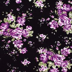 Purple Rose Floral on Black Cotton Jersey Blend Knit Fabric - Beautiful rose bouquets in shades of purples on a black cotton jersey rayon blend knit.  Fabric is lighter to mid weight, soft,…