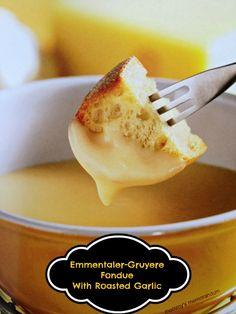 Emmentaler-Gruyere Fondue with Roasted Garlic #Recipe #food