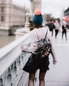 Hat: tumblr beanie pom pom beanie backpack sweater grey sweater skirt mini skirt black skirt tights
