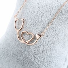 Medical Stethoscope Heart Pendant Necklace - 925 Sterling Silver