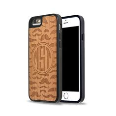 MUSTACHE Wood Engraved Carved Monogram Personalized Case on Natural Cherry Wood iPhone Case, Samsung Galaxy Case