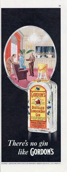 1955 Gordon's Gin Ad Vintage Illustrated Liquor by AdVintageCom