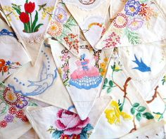 Upcycled Bunting ~ Made From Vintage Hand Embroidered Fabrics