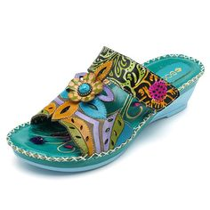Socofy SOCOFY Bohemian Leather Adjustable Hook Loop Printing Forest Sandals is comfortable to wear. Shop on NewChic to see other cheap women sandals on sale. Handmade Leather Shoes, Leather Sandals, Wedge Sandals, Shoes Sandals, Women Sandals, Flat Shoes, Leather Slippers, Beach Sandals, Shoes Women