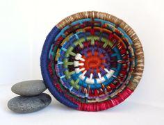 Yarn Coiled Basket, Multicolored Storage Basket, Multicolored