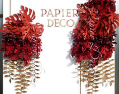 Paper Fall Leaves Decoration - Leaf Garland - Fall Wedding Decorations - Fall Party Decor - Fall Themed Baby Shower - Red Leaf Leaves