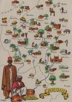 """Africa   """"Soudan Region Ouestt"""" (region covered Bamako to the Mauritanian town of Kiffa)   Vintage postcard from a Series of Geographic cards published by M. Barré and J Doyez"""