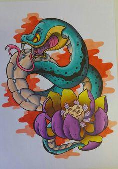 Serpiente y loto. Entintado y rotuladores
