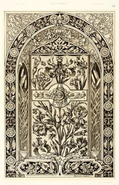 Black and cream vintage design with an arch shape Engraving Illustration, Pattern Illustration, Art Nouveau Design, Antique Prints, Art Journal Inspiration, Gravure, Botanical Art, Textile Patterns, Vintage Images