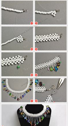 Creating precious jewelry is simply as tough, if not more difficult, than making fashion jewelry itself. Some people simply have an inherent idea of what will look appealing while some need to develop an eye for it. Diy Jewelry Necklace, Handmade Beaded Jewelry, Seed Bead Jewelry, Bead Jewellery, Drop Necklace, Diy Jewelry Projects, Jewelry Making Tutorials, Jewelry Crafts, Diy Necklace Patterns