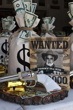 Awesome centerpiece at a western cowboy party! See more party planning ideas at CatchMyParty.com!