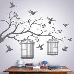 Pássaros em Liberdade -vinil autocolante decorativo de parede