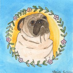 "Pug painting ""Louis Visualizing World Peace And Bacon Bits, Again"" by Claire Chambers // Chickenpants.com"