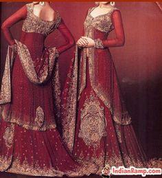 Bridal Lacha Dress Designs Maroon Wedding Lachas@IndianRamp.com Top Wedding Dress Designers