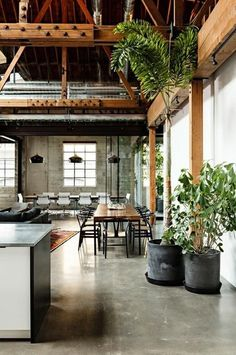 exposed trusses + concrete floors and counter tops + house plants + wood dining room table + brick + industrial, modern, eco inspiration